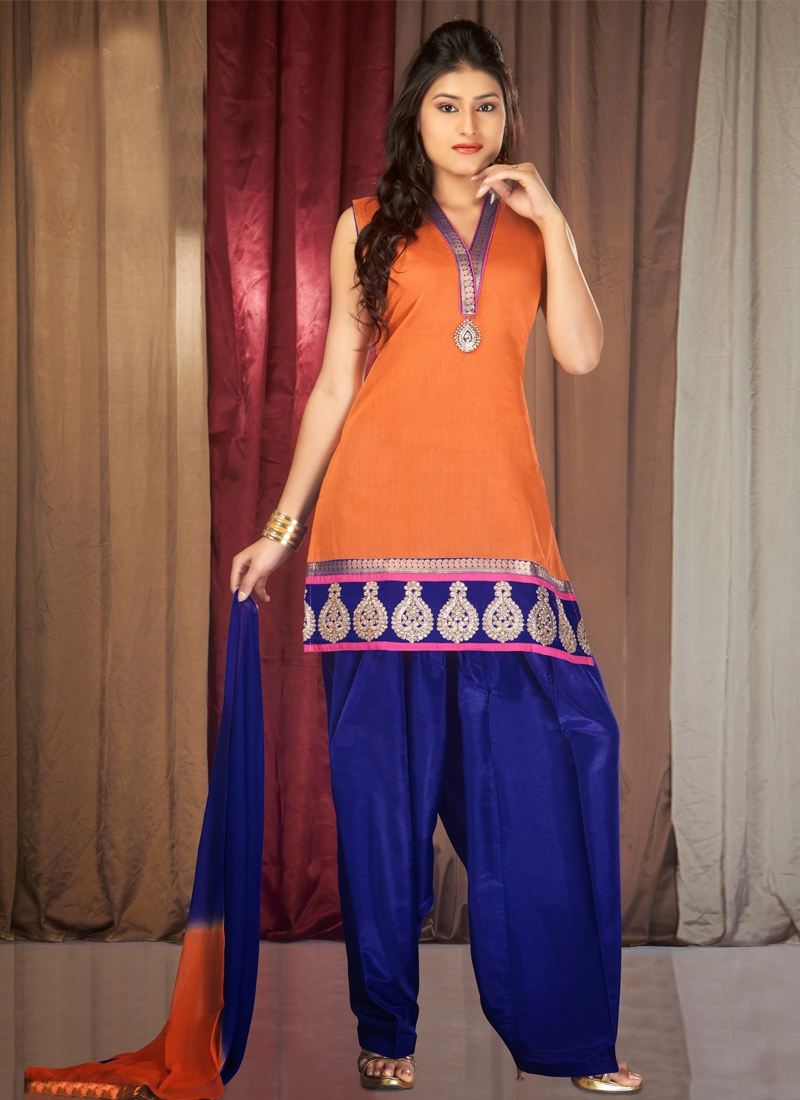 Adorning Orange Color Readymade Salwar Suit