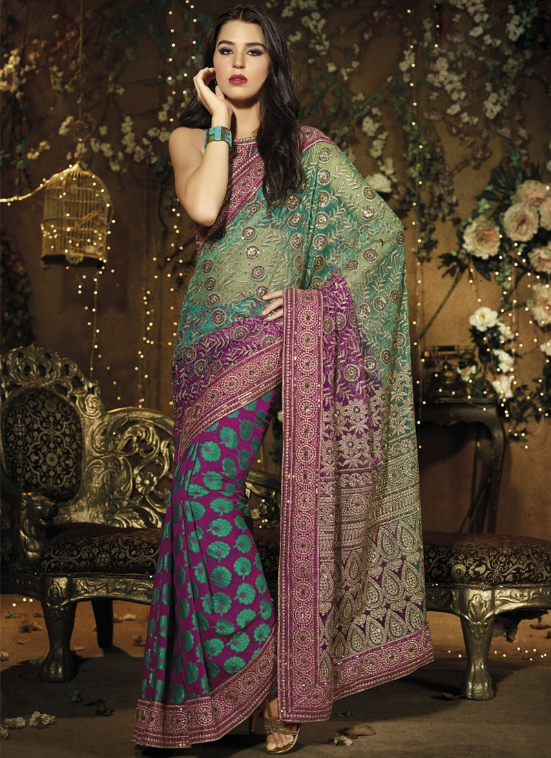 Adorning Patch Enhanced Half N Half Saree