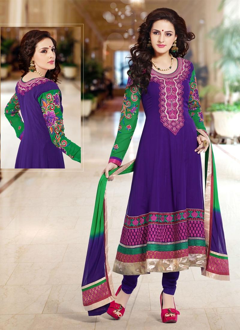 Adorning Purple Color Anarkali Salwar Kameez