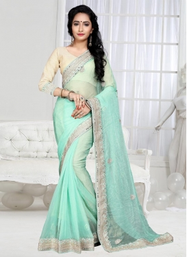 Adorning  Shimmer Georgette Booti Work Contemporary Saree