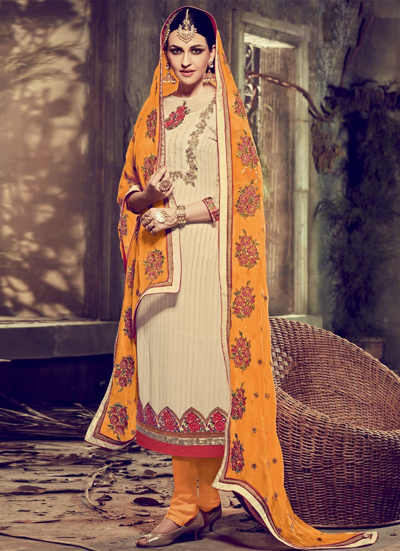 Adorning Stone Work Cream Color Pakistani Salwar Suit