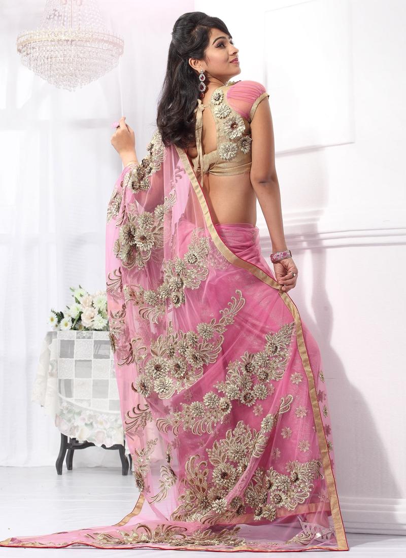 Adorning Stone Work Net Wedding Saree