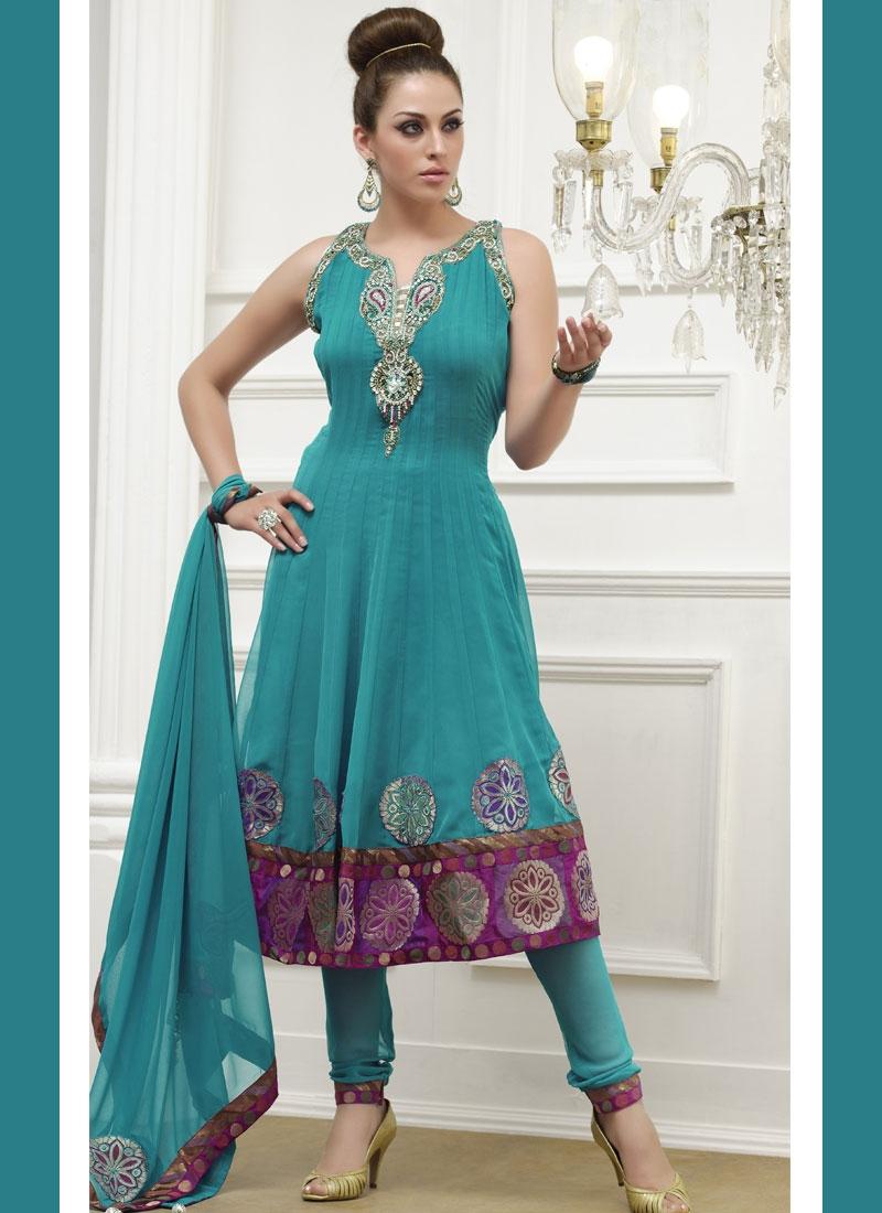 Adorning Teal Color Anarkali Salwar Suit