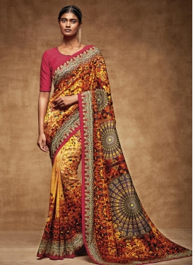 Adorning Tussar Silk Orange and Rose Pink Digital Print Work Traditional Saree