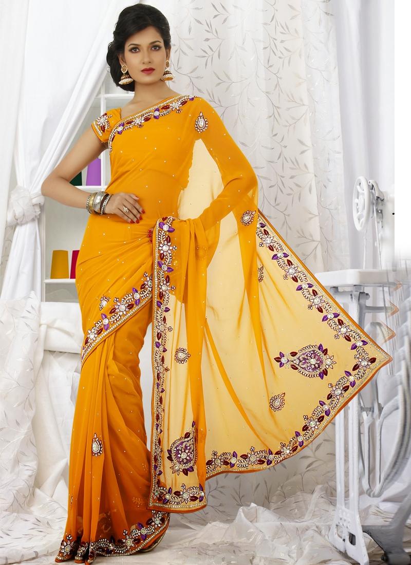 Adorning Yellow Chiffon Wedding Saree