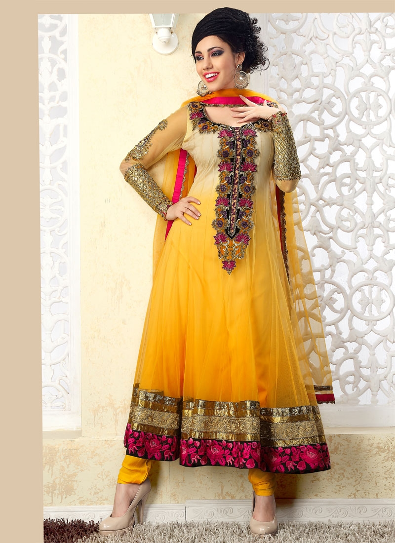 Aesthetic Beige And Gold Color Anarkali Salwar Suit