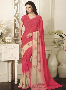 Aesthetic Beige and Salmon Booti Work  Traditional Saree