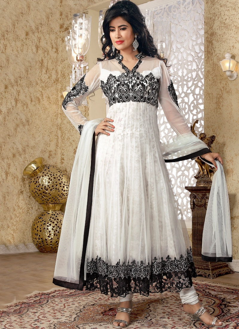 Aesthetic Black And Off White Salwar Suit