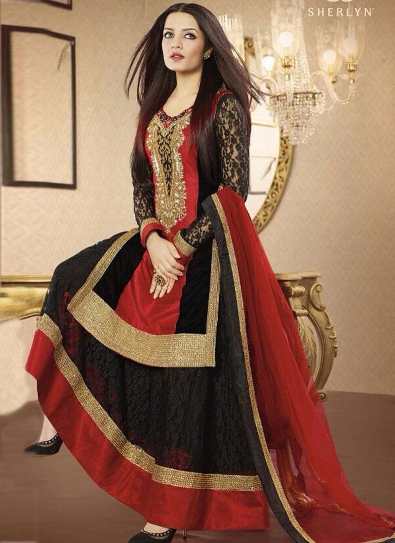 Aesthetic Black Color Celina Jaitley Designer Salwar Kameez