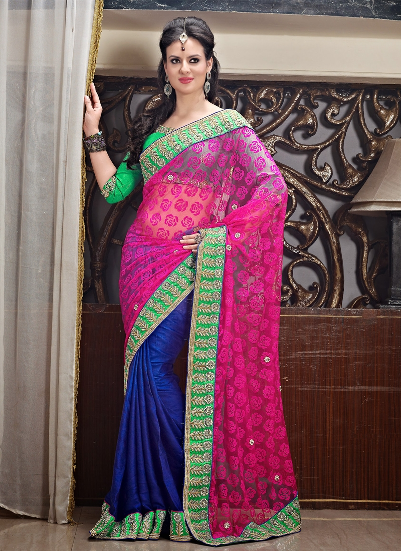 Aesthetic Blue And Rose Pink Half N Half Saree