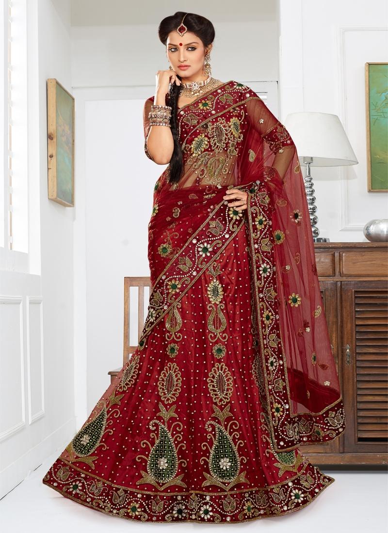 Aesthetic Crimson Color Bridal Lehenga Choli