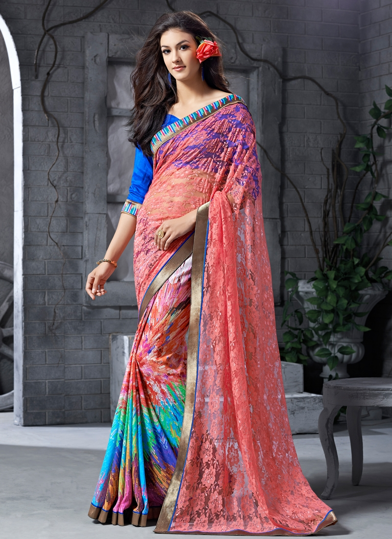 Aesthetic Digital Print Work Half N Half Party Wear Saree