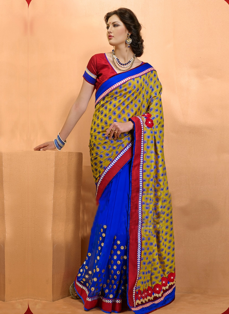 Aesthetic Georgette And Jacquard Half N Half Saree