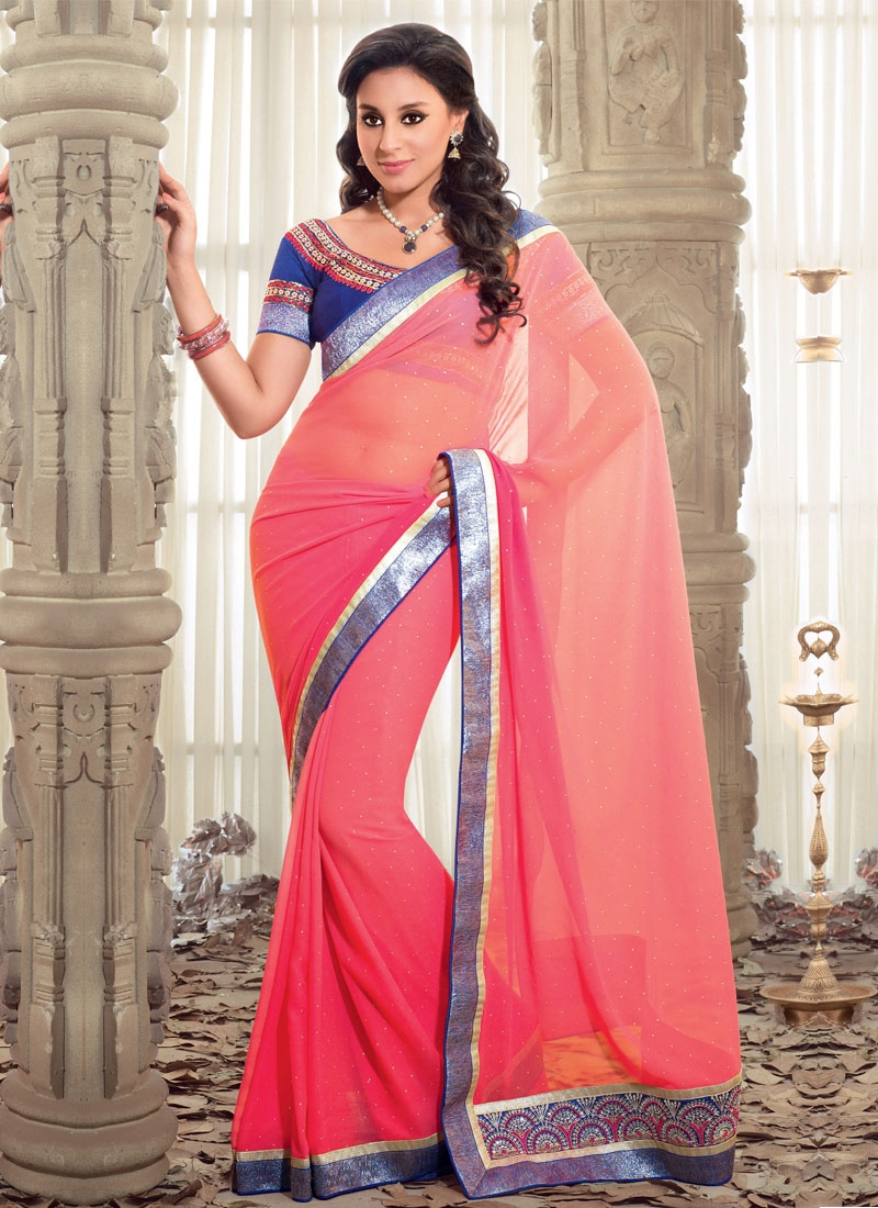 Aesthetic Hot Pink Georgette Casual Saree