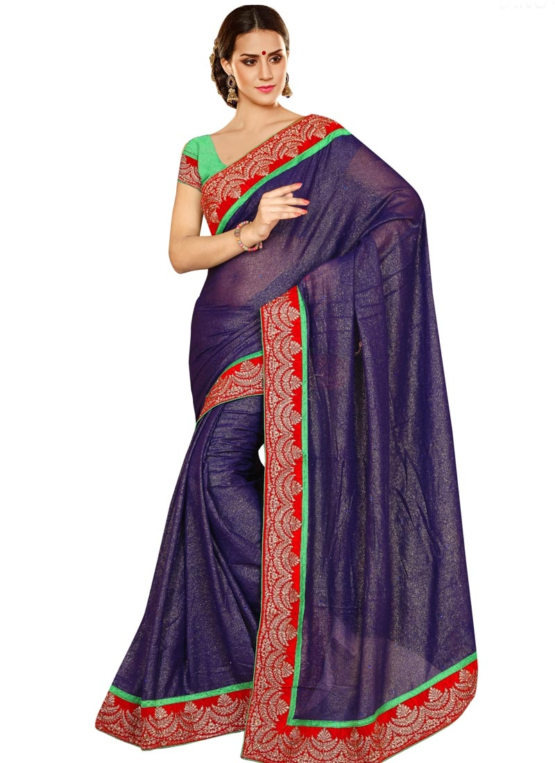 Aesthetic Lace And Stone Work Party Wear Saree
