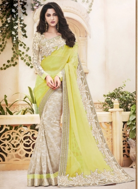 Aesthetic Lace Work Half N Half Trendy Saree