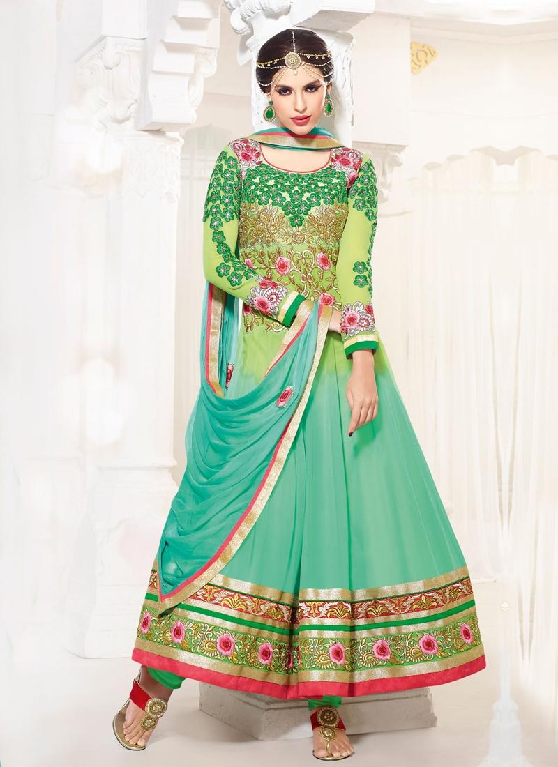 Aesthetic Mint Green And Aqua Blue Color Anarkali Suit