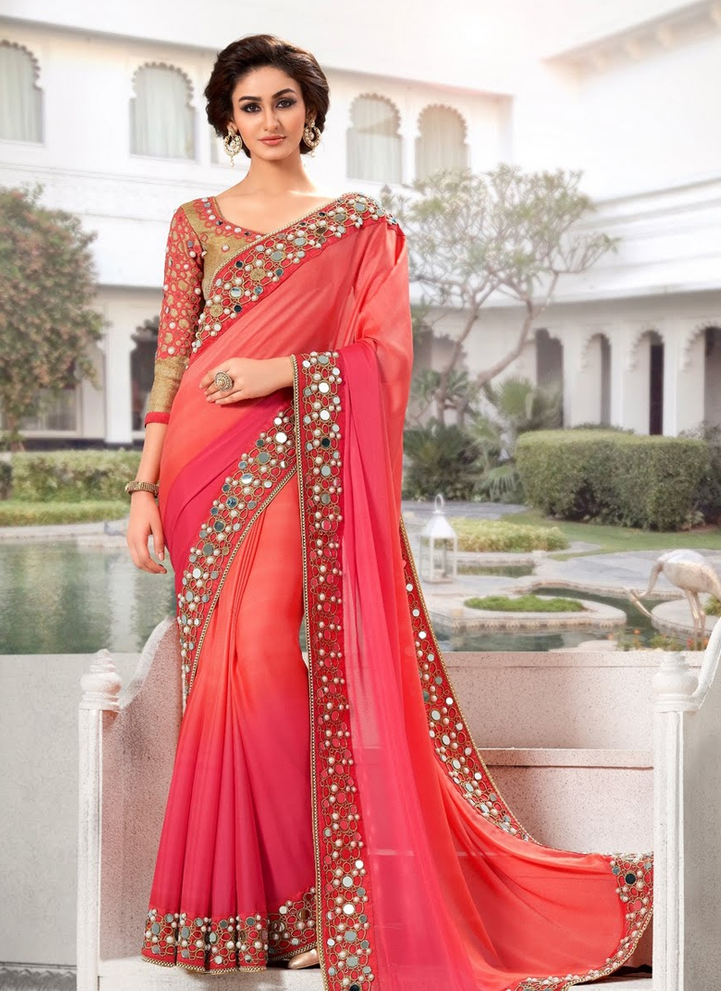 Aesthetic Mirror And Beads Work Designer Saree