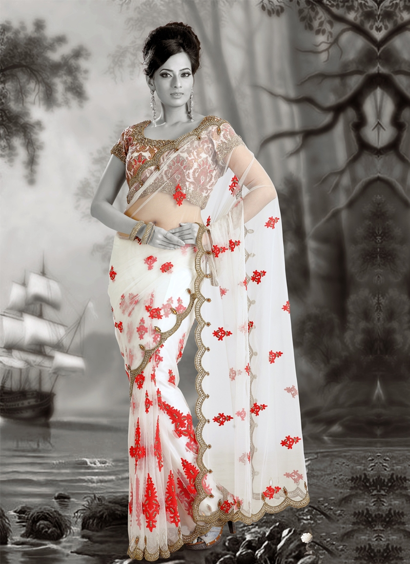 Aesthetic Multi And Aari Work Party Wear Saree