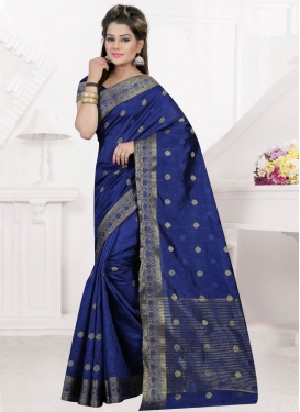 Aesthetic Navy Blue Resham Work Traditional Saree