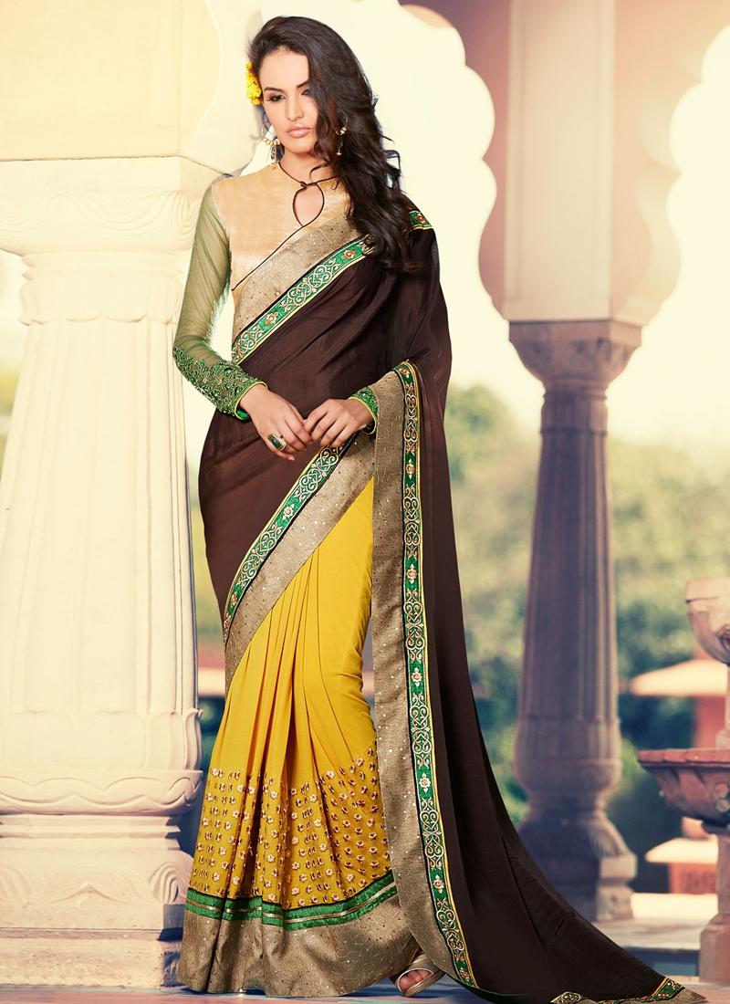 Aesthetic Patch Border Work Half N Half Designer Saree