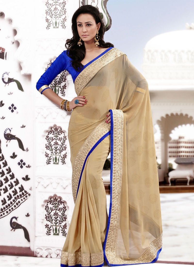 Aesthetic Patch Work Georgette Party Wear Saree