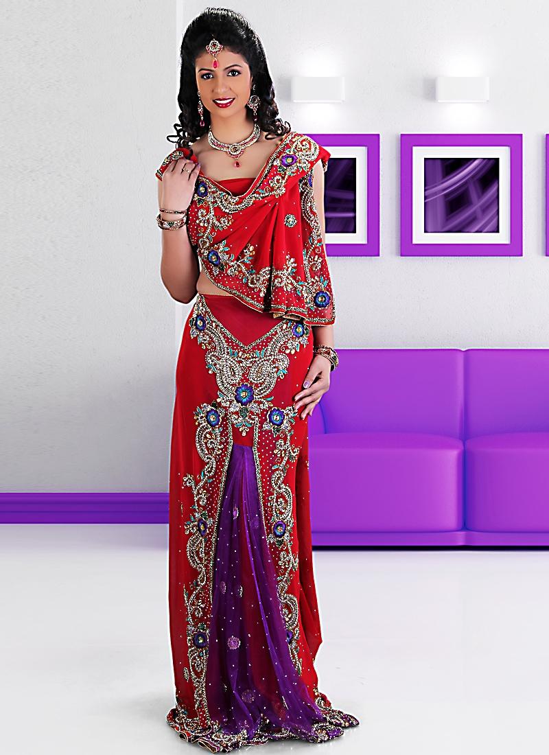 Aesthetic Red And Purple Lehenga Saree