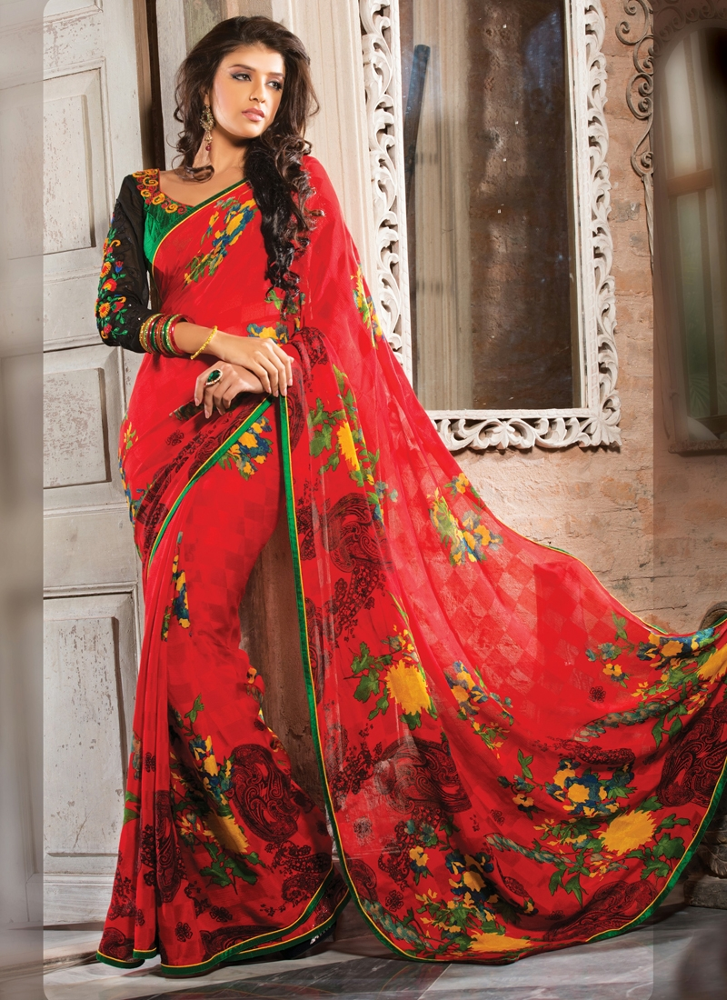 Aesthetic Red Color Chiffon Party Wear Saree