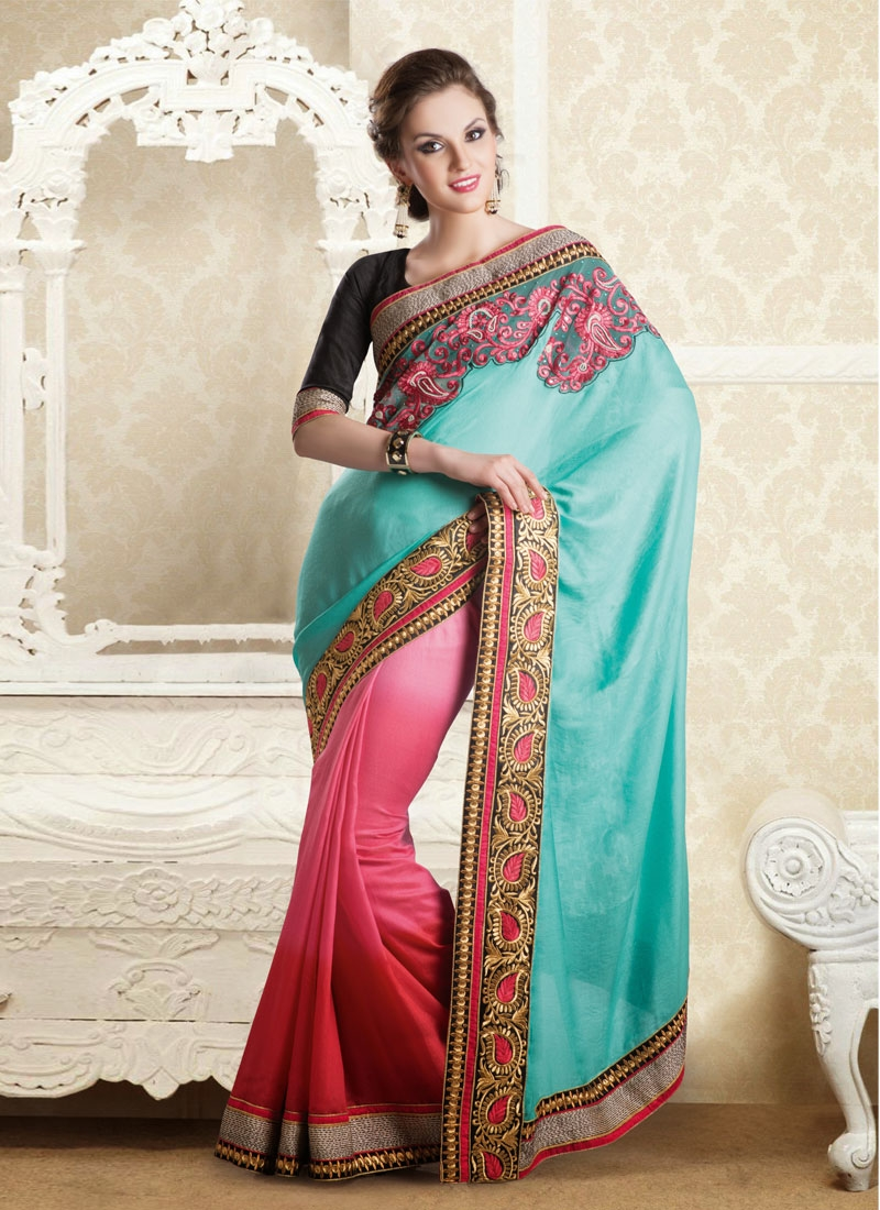 Aesthetic Resham And Stones Work Half N Half Party Wear Saree