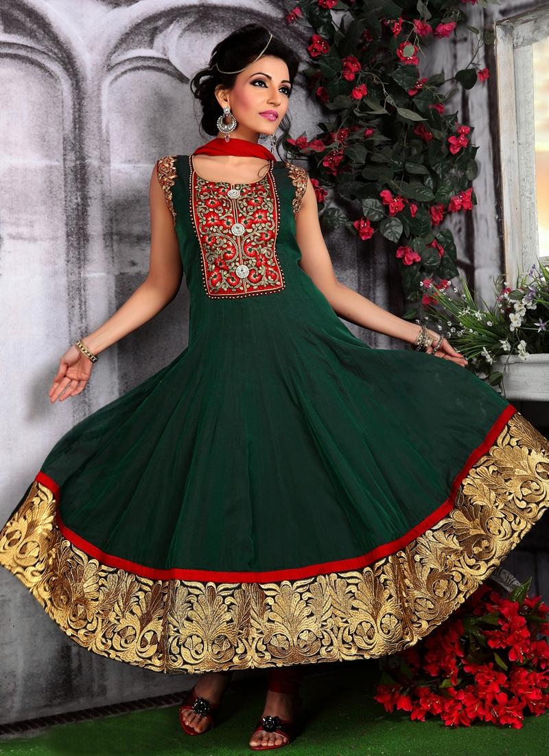 Aesthetic Resham Enhanced Readymade Anarkali Suit