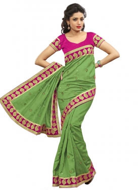 Aesthetic Stone Work Olive Color Party Wear Saree