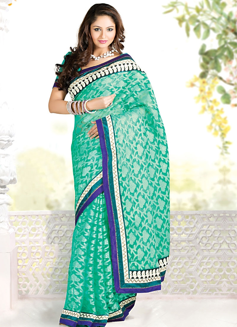 Aesthetic Turquoise And Blue Party Wear Saree