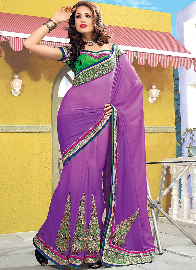 Aesthetic Violet Color Stones Work Saree