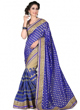 Aesthetic Viscose And Net Half N Half Wedding Saree