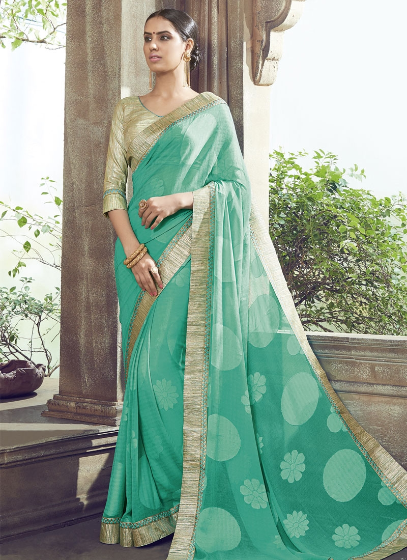 Affectionate Aqua Blue Color Faux Chiffon Party Wear Saree