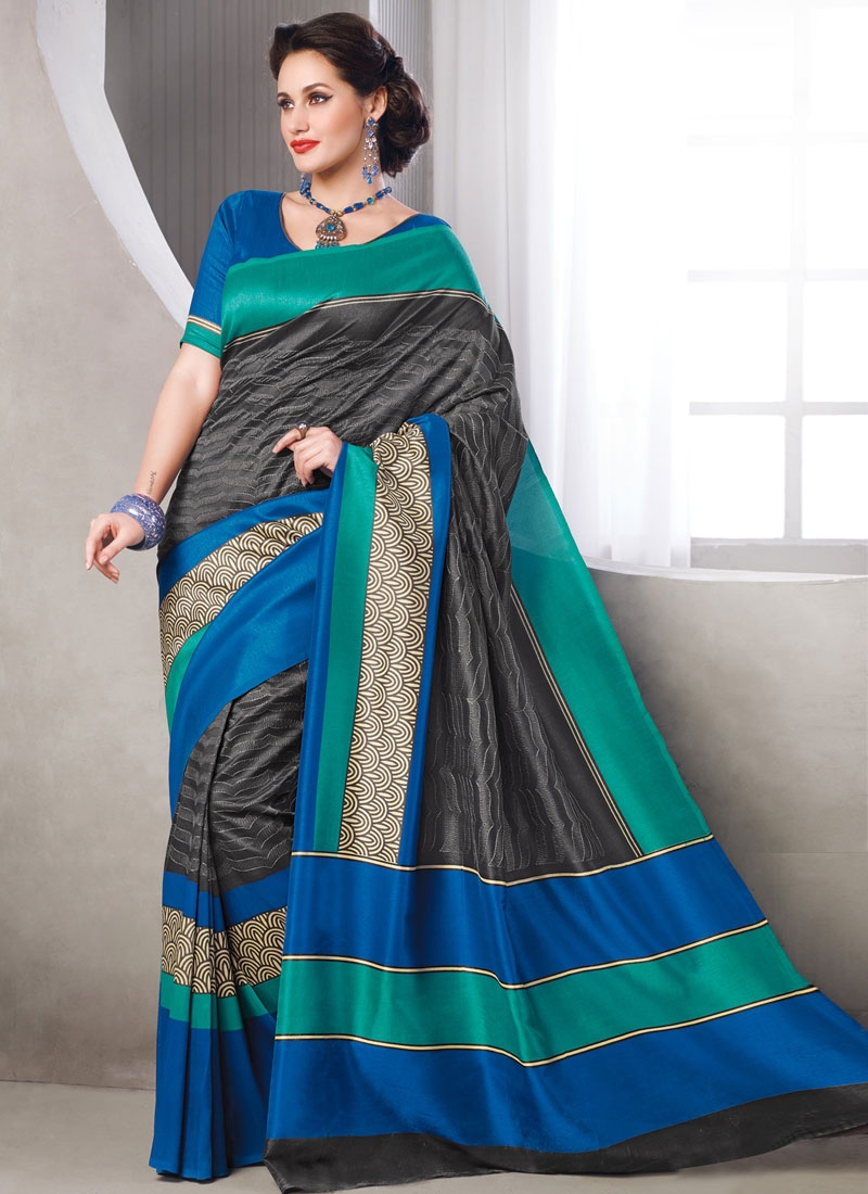 Affectionate Art Silk Blue And Grey Color Casual Saree