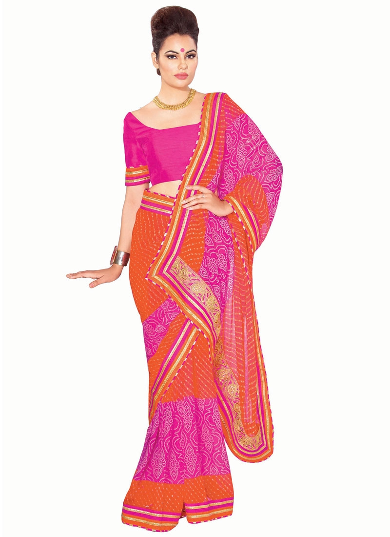 Affectionate Bandhej Print Work Party Wear Saree