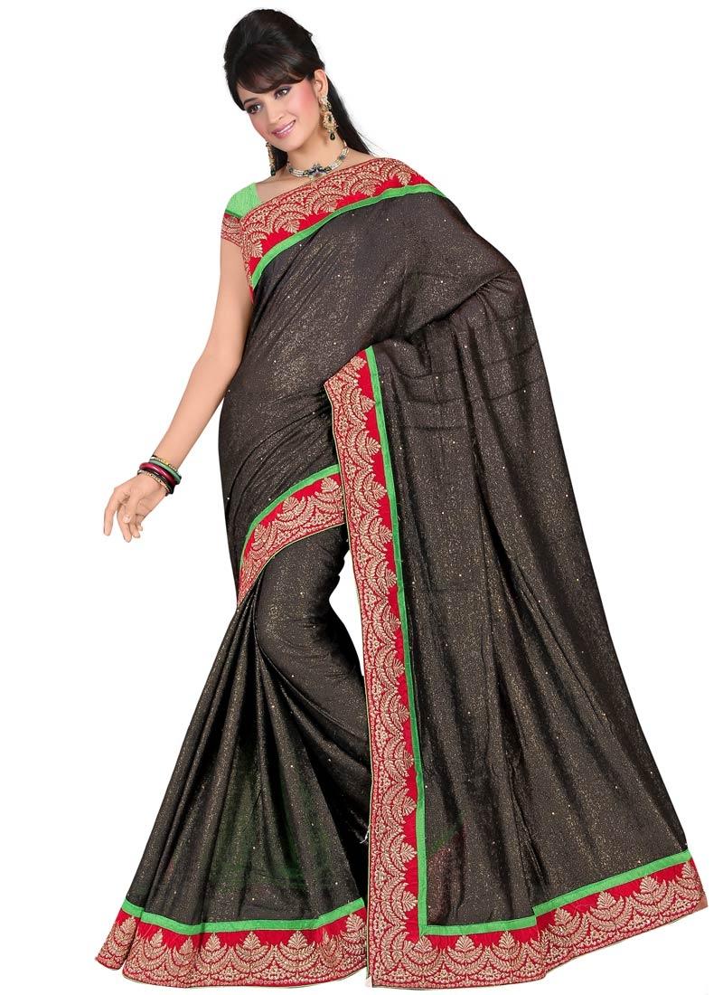 Affectionate Black  Color Lace Work Party Wear Saree