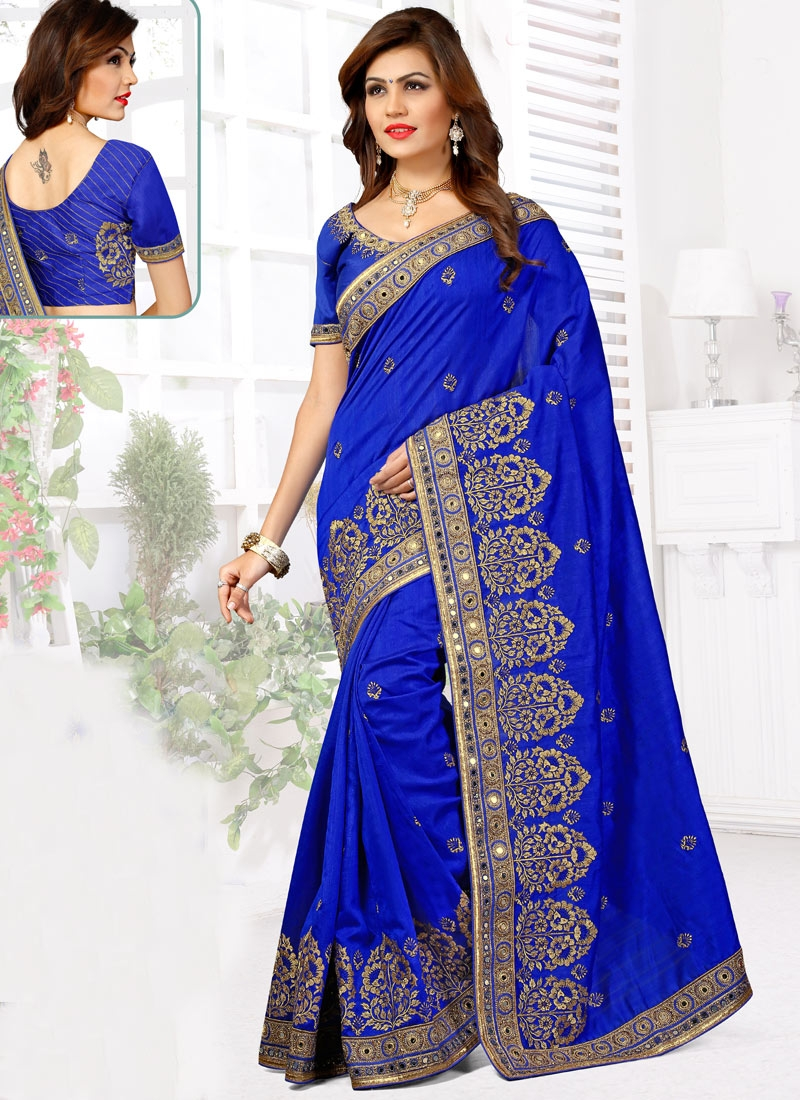 Affectionate Blue Color Mirror Work Designer Saree