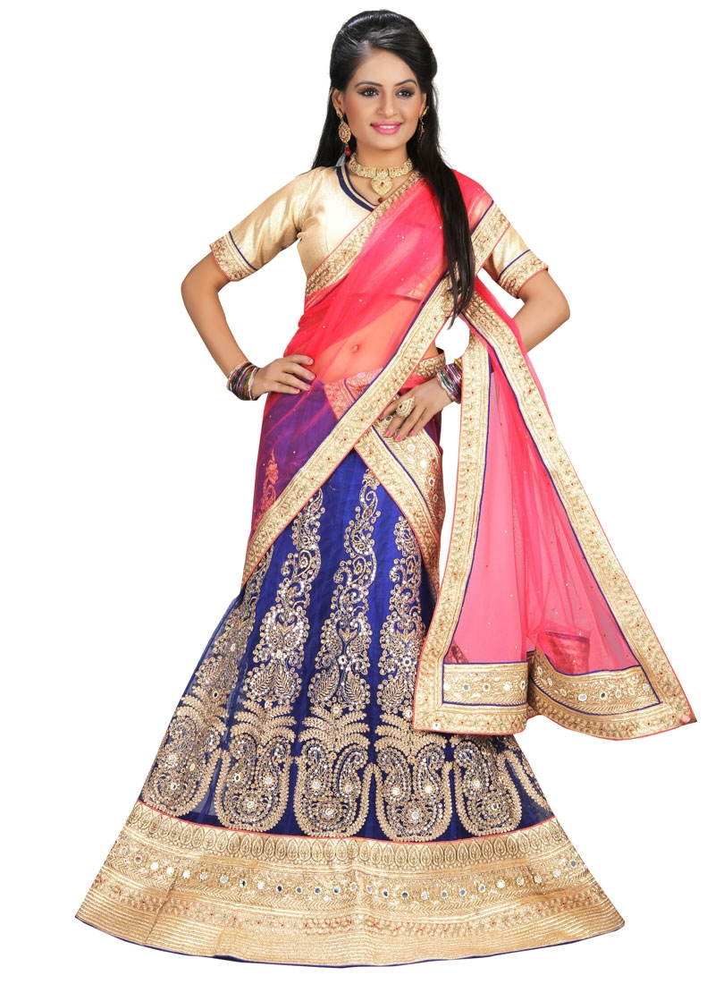 Affectionate Blue Color Mirror Work Wedding Lehenga Choli