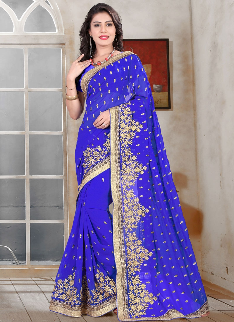 Affectionate Blue Color Resham Work Party Wear Saree