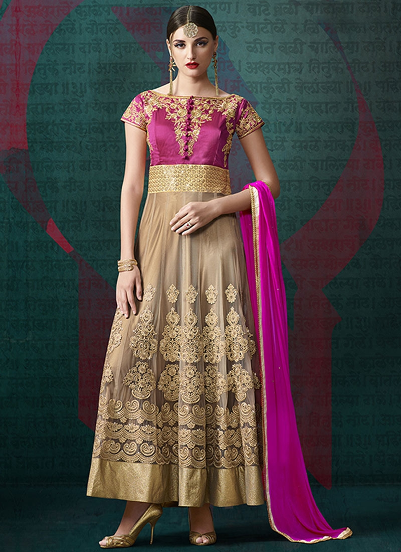Affectionate Booti Work Net Ankle Length Anarkali Suit