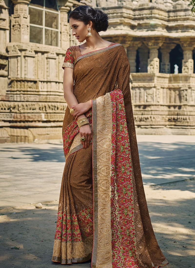 Affectionate Brown Color Stone Work Wedding Saree