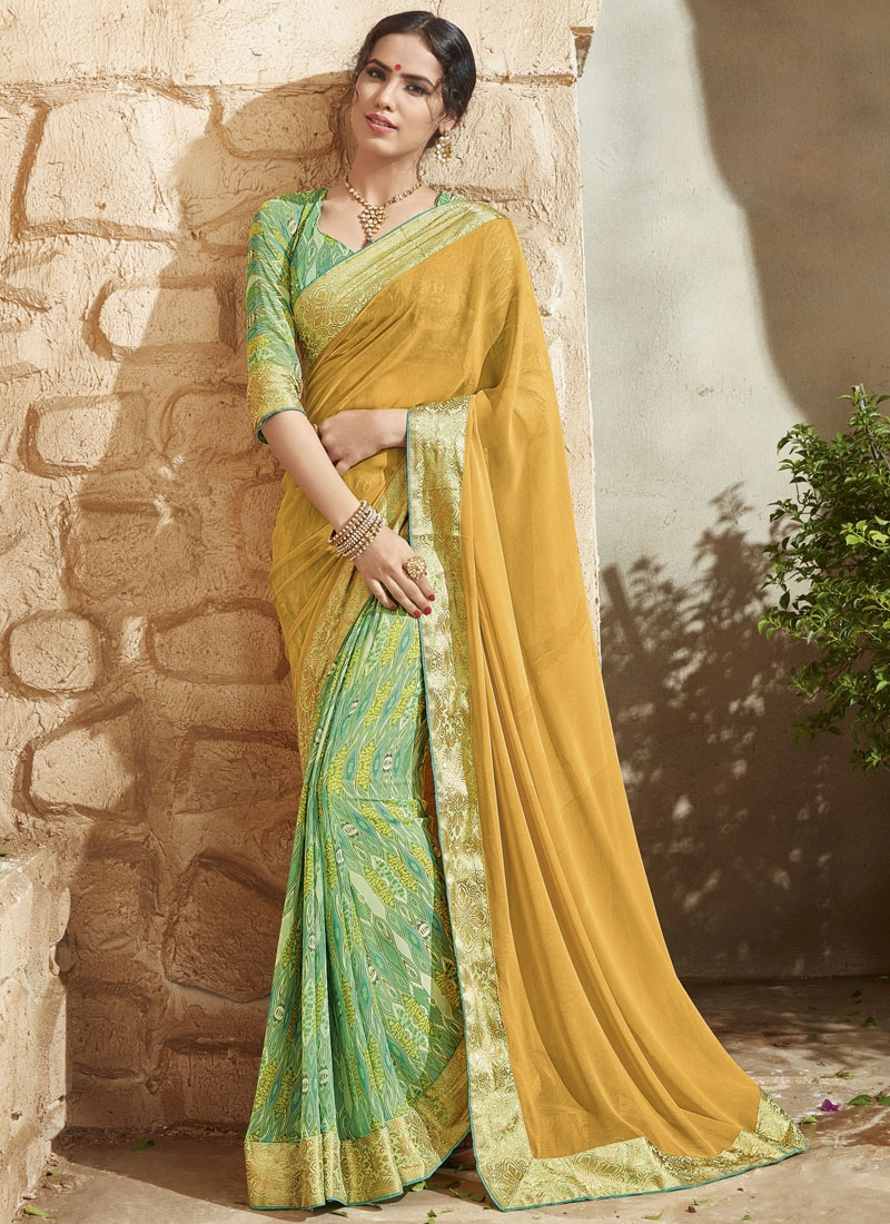 Affectionate Digital Print And Lace Work Half N Half Party Wear Saree