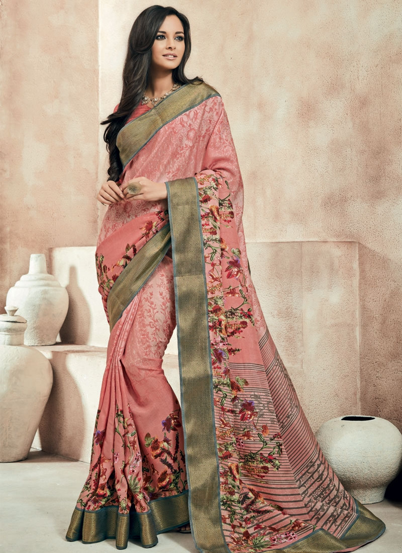 Affectionate Digital Print And Lace Work Party Wear Saree