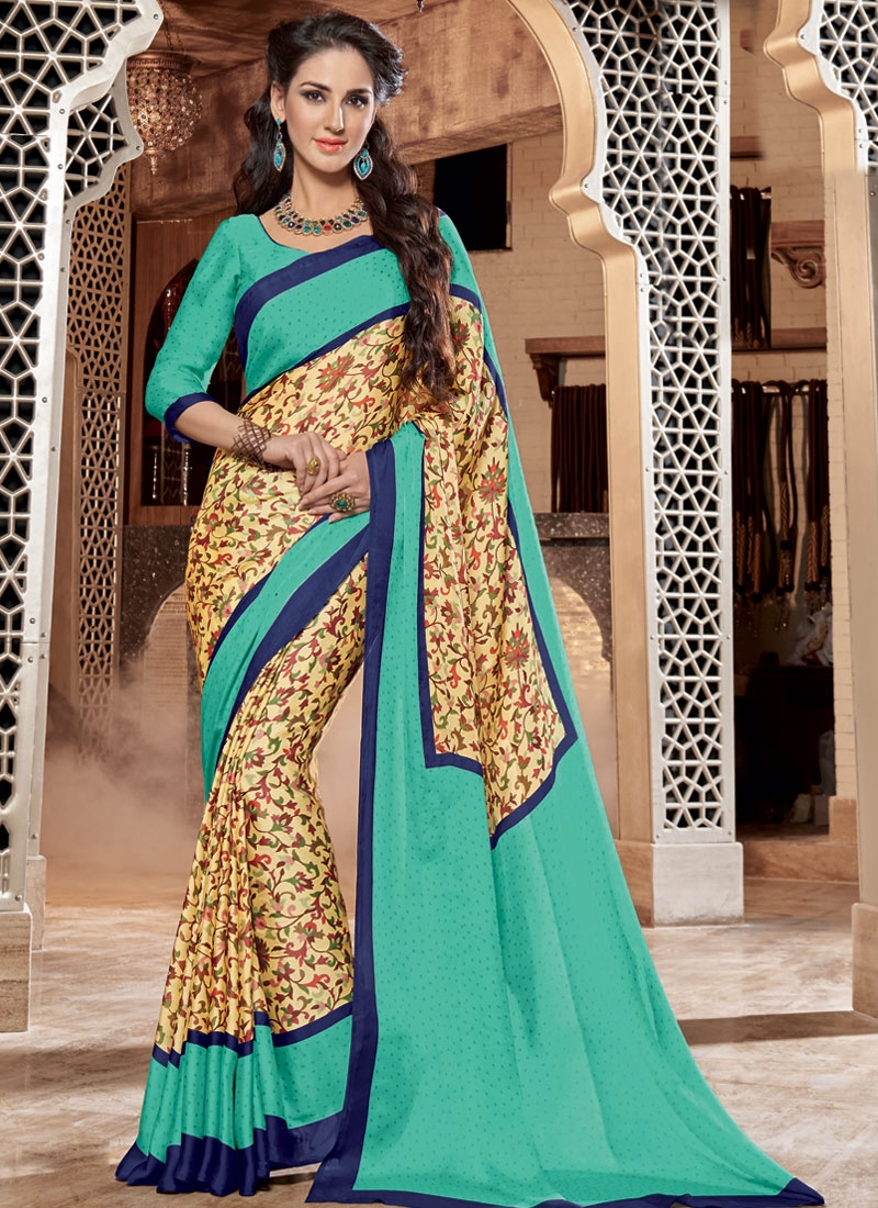 Affectionate Digital Print Work Crepe Silk Casual Saree