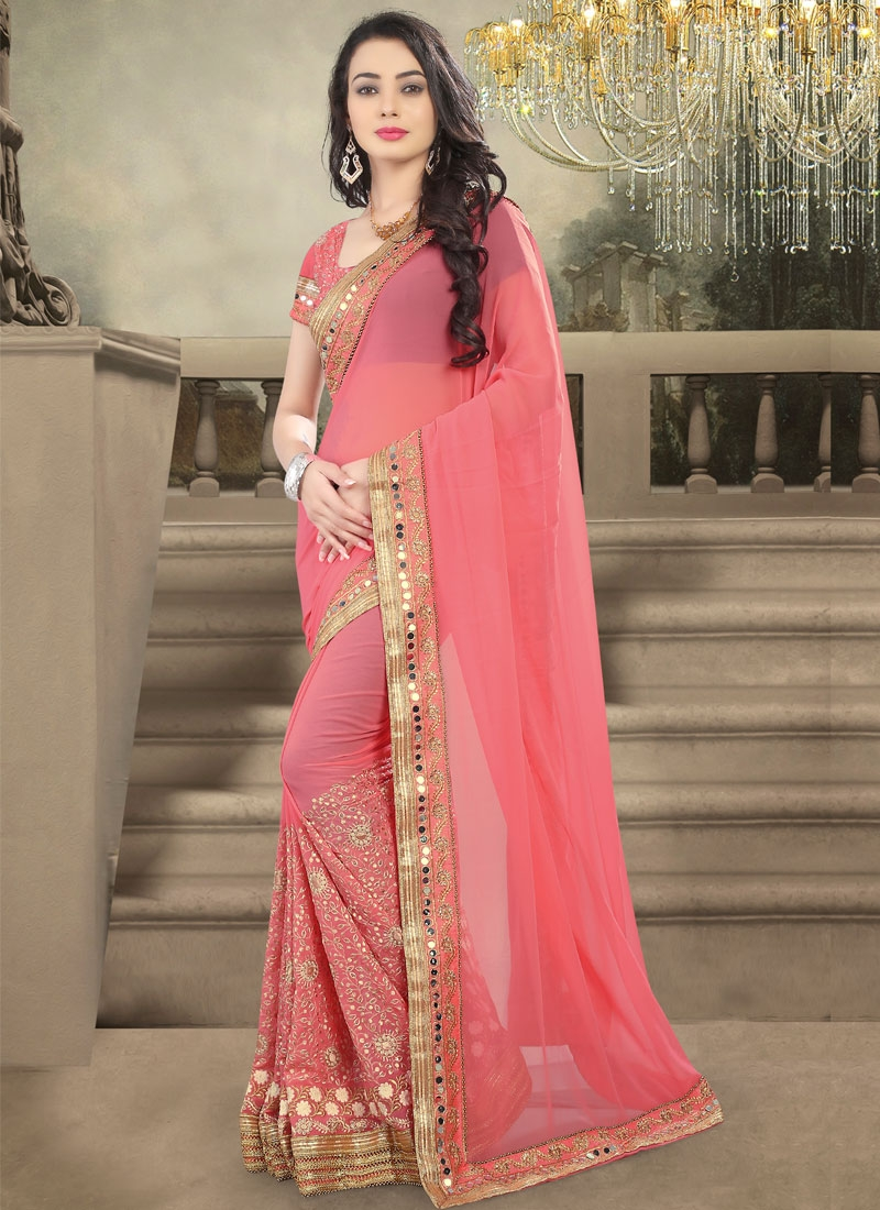 Affectionate Embroidery Work Salmon Color Designer Saree