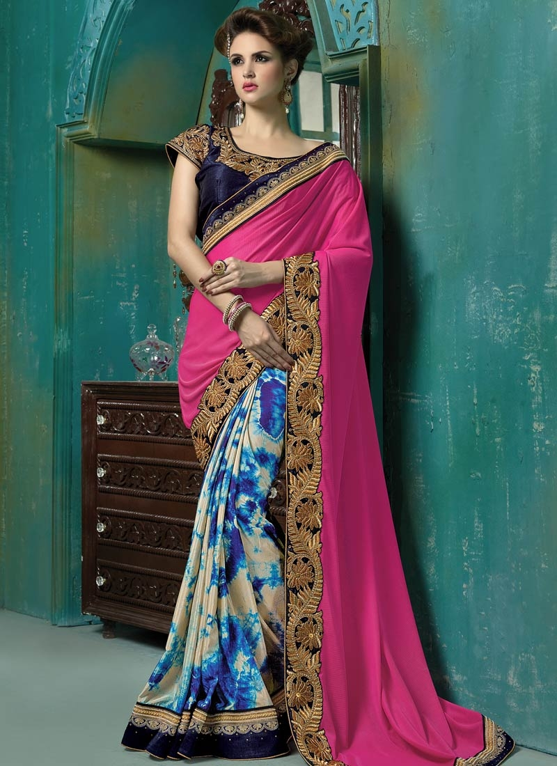 Affectionate Fancy Fabric Half N Half Designer Saree