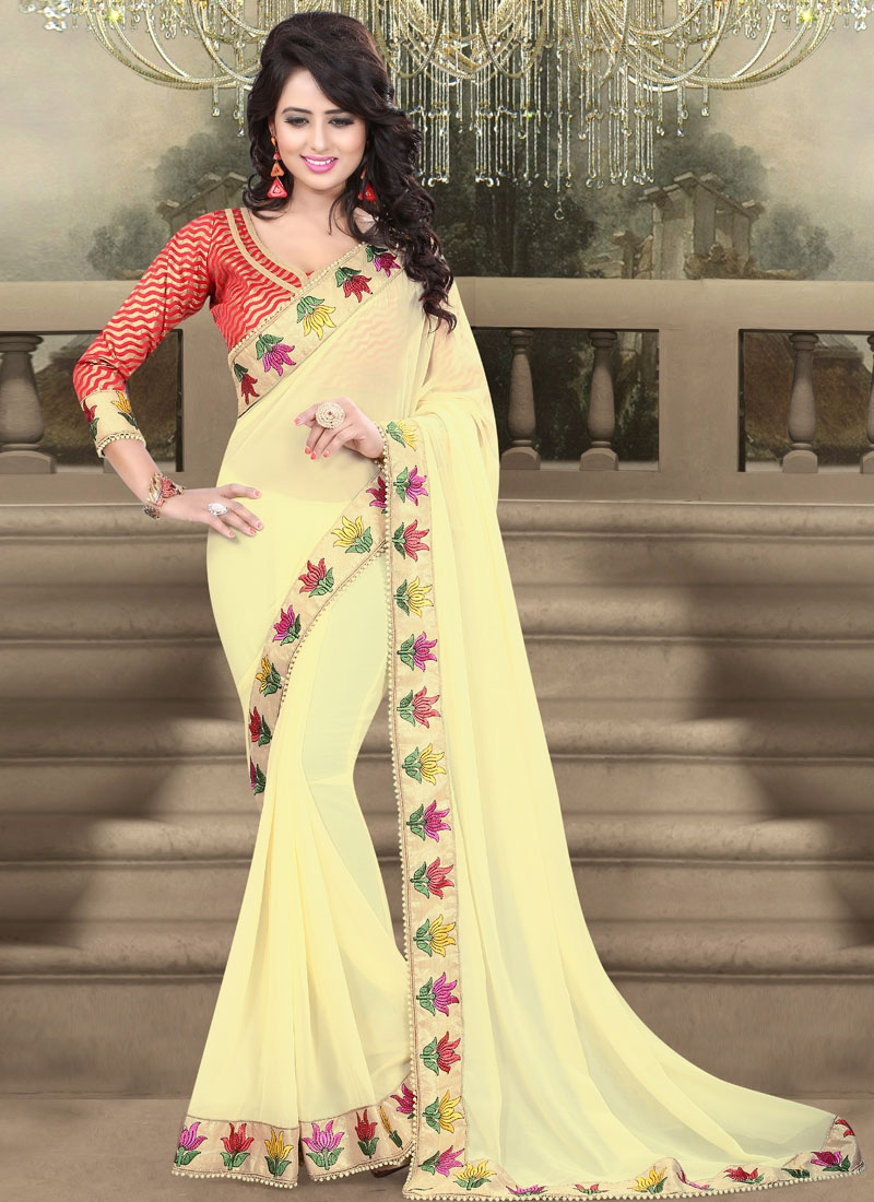 Affectionate Faux Georgette Beads Work Party Wear Saree