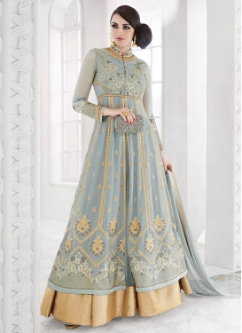 Affectionate Faux Georgette Booti Work Designer Kameez Style Lehenga